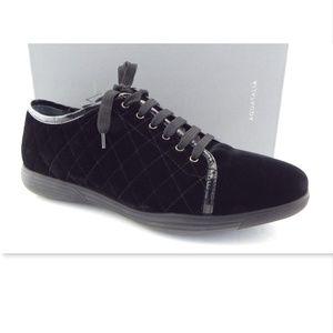 AQUATALIA Black Diamond Quilted Velvet Sneakers 10